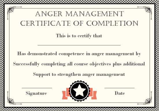 Anger Management Certificate: 15 Templates With Editable inside Anger Management Certificate Template