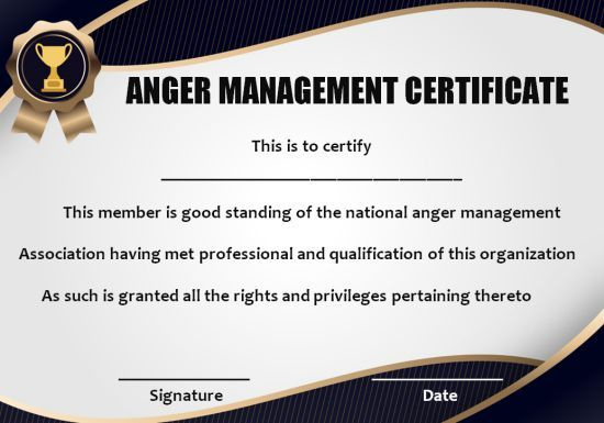 Anger Management Certificate: 15 Templates With Editable pertaining to Anger Management Certificate Template Free
