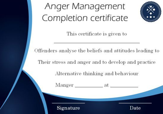 Anger Management Certificate: 15 Templates With Editable with Anger Management Certificate Template