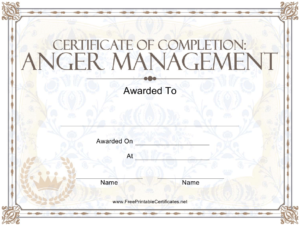 Anger Management Certificate Of Completion Template Download pertaining to Anger Management Certificate Template Free