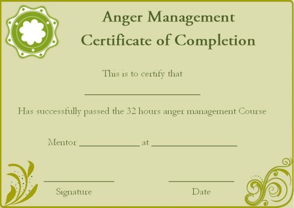 Anger Management Certificate Of Completion Template Intended For Anger Management Certificate Template