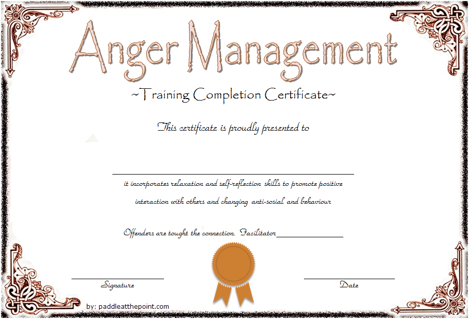 Anger Management Certificate Template 09 | Anger Management pertaining to Anger Management Certificate Template