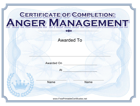 Anger Management Completion Certificate Template Download within Anger Management Certificate Template Free