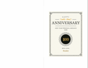 Anniversary Gift Certificate Note Card with Anniversary Gift Certificate