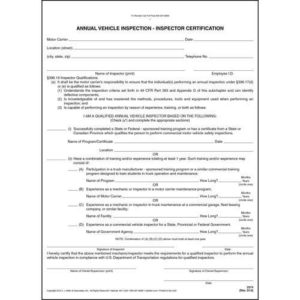 Annual Vehicle Inspection – Inspector Certification Form in Best Certificate Of Inspection Template
