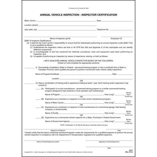 Annual Vehicle Inspection - Inspector Certification Form in Best Certificate Of Inspection Template