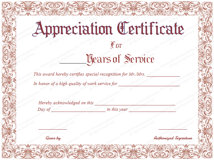 Appreciation Certificate For Years Of Service | Certificate intended for Long Service Certificate Template Sample