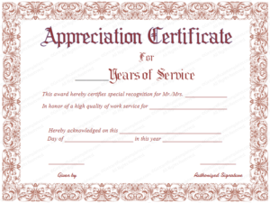 Appreciation Certificate For Years Of Service | Certificate with Recognition Of Service Certificate Template