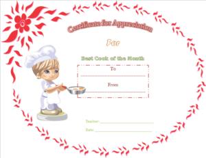 Appreciation Certificate Template (Best Cooking, Printable for Best Cooking Competition Certificate Templates