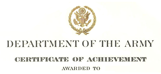 Army Certificate Of Achievement Citation Examples with regard to Fresh Certificate Of Achievement Army Template