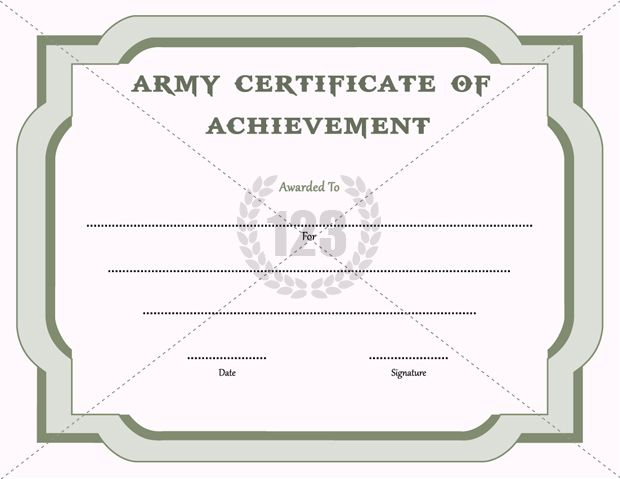 Army Certificate Of Achievement Template - 123Certificate in Certificate Of Achievement Army Template