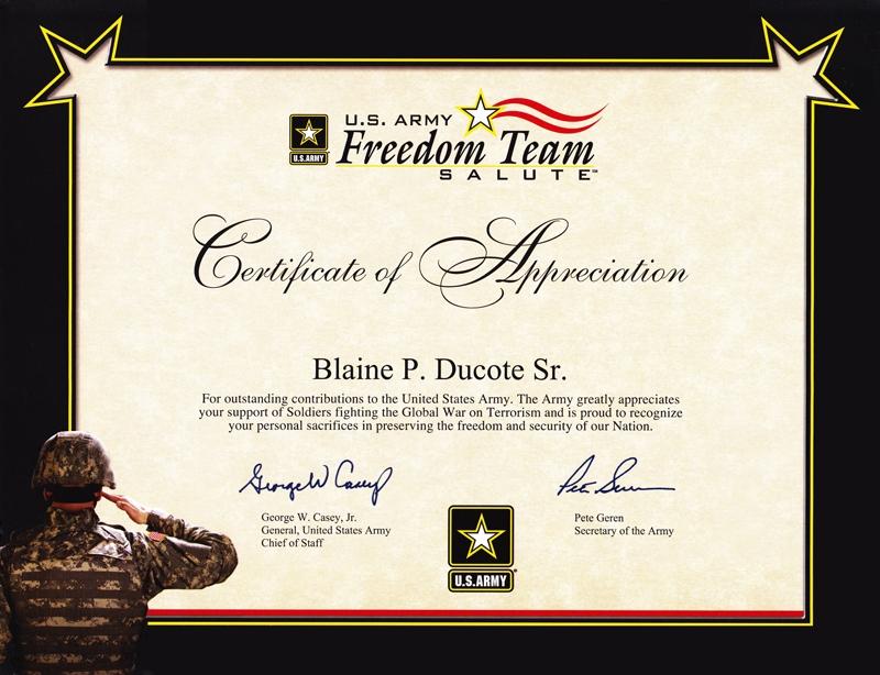 Army Certificate Of Appreciation Template (7) - Templates throughout Best Army Certificate Of Appreciation Template