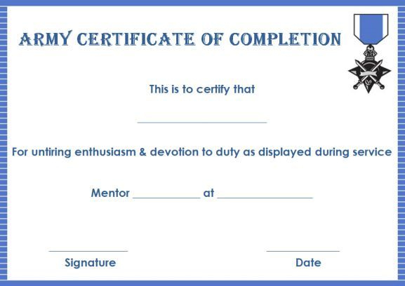 Army Certificate Of Completion Template | Certificate Of Inside Unique Army Certificate Of Completion Template