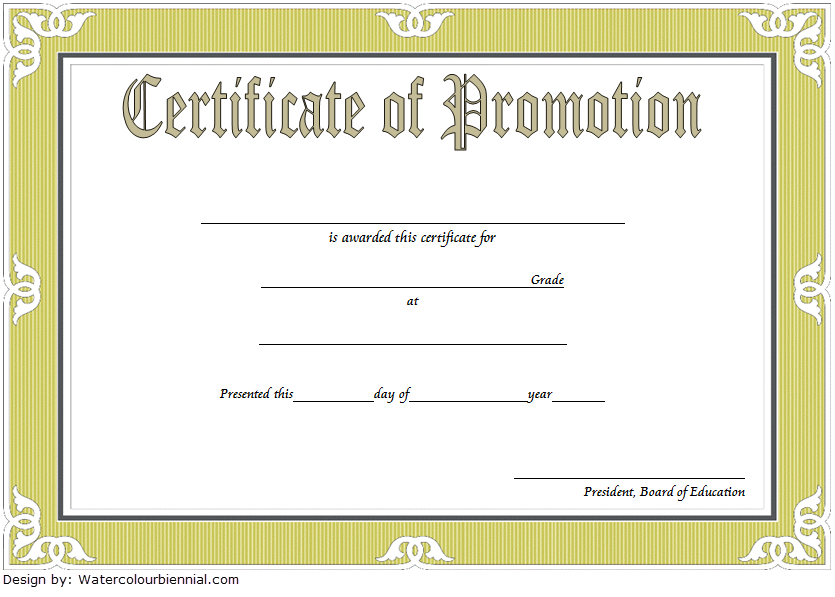 Army Certificate Of Promotion Template - Template Free pertaining to Free Printable Certificate Of Promotion 12 Designs