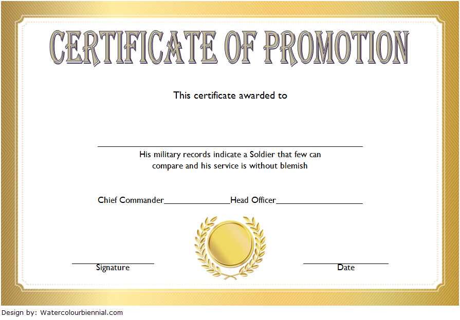 Army Certificate Of Promotion Template - Template Free pertaining to Quality Free Printable Certificate Of Promotion 12 Designs