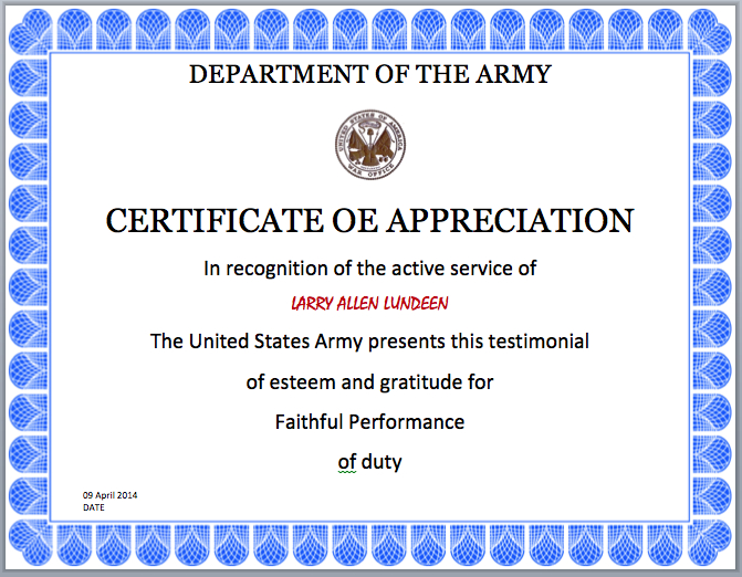 Army Certificate Template - Microsoft Word Templates inside Army Certificate Of Appreciation Template