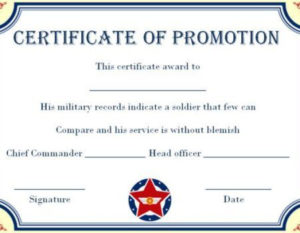 Army Enlisted Promotion Certificate Template | Certificate in Best Promotion Certificate Template