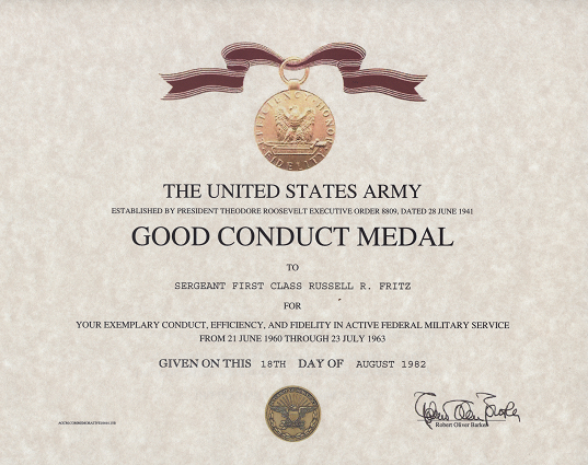 Army Good Conduct Medal Certificate throughout Army Good Conduct Medal Certificate Template