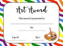 Art Award Certificate (Free Printable)   Printable Art in New Free Art Certificate Templates