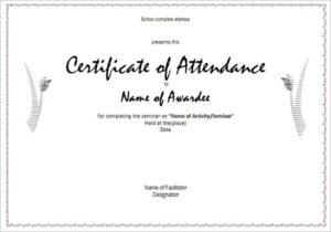 Attendance Certificate Templates | 12+ Free Word & Pdf with Attendance Certificate Template Word