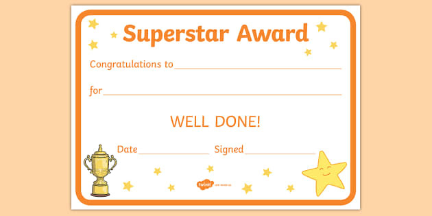 Award And Certificate Templates For Kids | Primary Resource pertaining to Unique Well Done Certificate Template