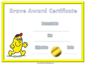 Award Certificate For Being Brave | Bravery Awards, Awards for Bravery Certificate Templates