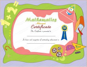 Award Certificate For Mathematics for Math Award Certificate Template