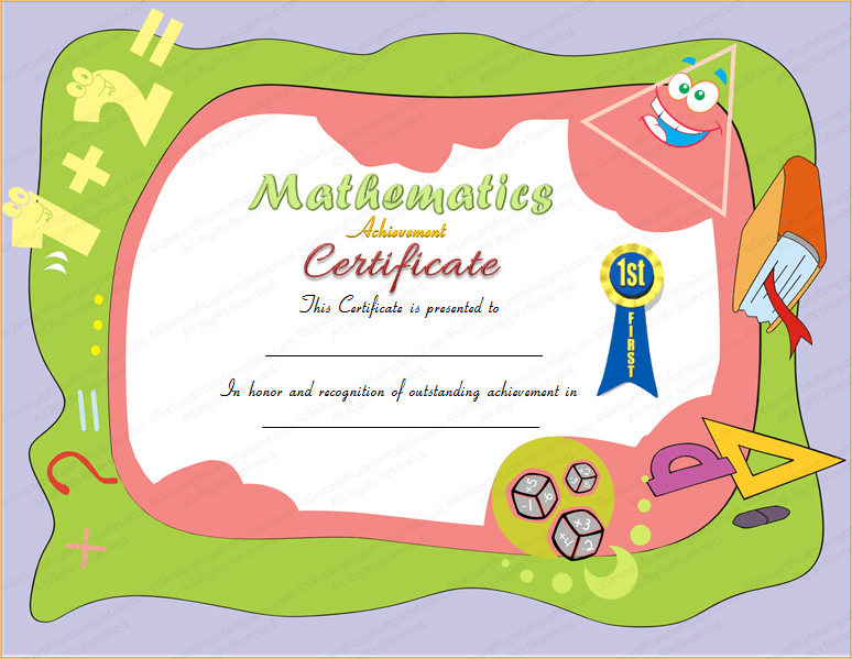 Award Certificate For Mathematics within Math Achievement Certificate Templates