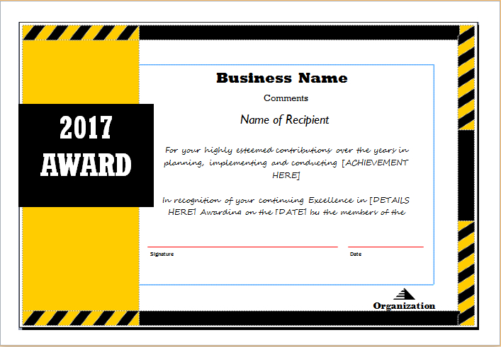 Award Certificate Sample Template For Ms Word | Document Hub in Fresh Sample Award Certificates Templates