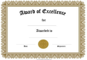 Award Certificate Templates | Free Certificate Templates with regard to Math Certificate Template 7 Excellence Award