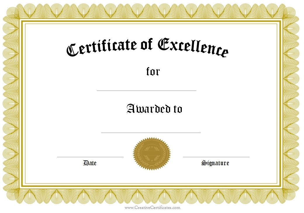 Award Of Excellence | Certificate Of Achievement Template inside Free Certificate Of Excellence Template