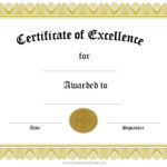 Award Of Excellence | Certificate Of Achievement Template Regarding Award Of Excellence Certificate Template