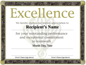 Award Of Excellence Certificate Template (5) | Professional intended for Unique Free Teamwork Certificate Templates 10 Team Awards