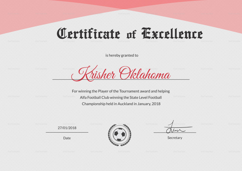 Award Of Excellence Certificate Template Awesome Football with regard to Fresh 10 Certificate Of Championship Template Designs Free