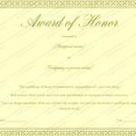 Award Of Honor Certificate Template (Editable For Word) Regarding Honor Award Certificate Template