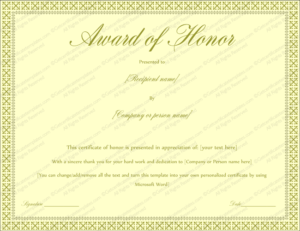Award Of Honor Certificate Template (Editable For Word) regarding Honor Award Certificate Template