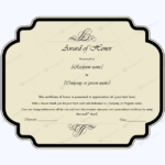 Award Of Honor (Editable Template) – Word Layouts | Award In Unique Honor Award Certificate Template