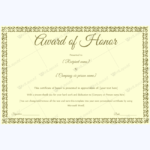 Award Of Honor (For Guest) – Word Layouts | Certificate Throughout Honor Award Certificate Template
