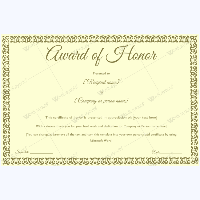 Award Of Honor (For Guest) - Word Layouts | Certificate throughout Honor Award Certificate Template