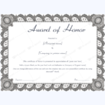 Award Of Honor (Formal Design) – Word Layouts | Teacher Intended For Fresh Honor Award Certificate Templates