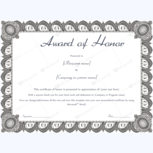 Award Of Honor (Formal Design) – Word Layouts | Teacher Within Unique Honor Award Certificate Template