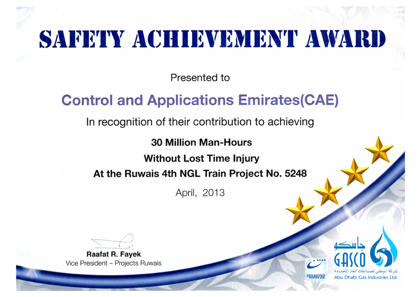 Awards & Certificates - Control & Applications Emirates (Cae) inside Safety Recognition Certificate Template