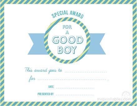 Awards For Good Behavior - Mr Printables   Behavior Chart with Quality Good Behaviour Certificate Templates