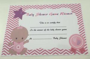 Baby Baby Showers 10 X Baby Shower Game Prize Winner inside Baby Shower Winner Certificates