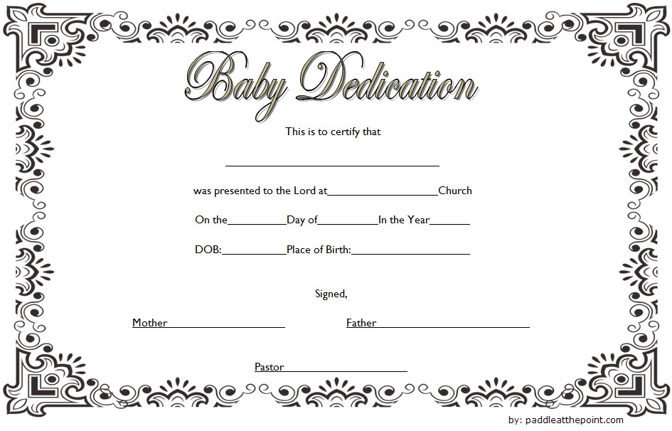 Baby Dedication Certificate Template (3) - Templates Example inside Quality Baby Dedication Certificate Templates