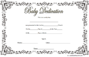 Baby Dedication Certificate Template (3) – Templates Example with New Baby Christening Certificate Template