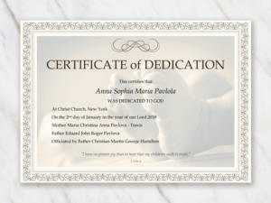 Baby Dedication Certificate Template   Baby Dedication intended for New Baby Christening Certificate Template