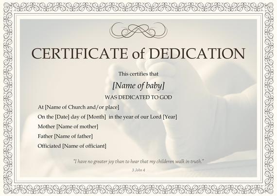 Baby Dedication Certificate Template | Boy Or Girl | Instant Download |  Print At Home | Gift | Baptism | Dedication To The Lord with regard to Baby Dedication Certificate Templates