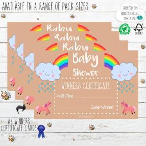 Baby Shower Certificate Pack – Winner – Rainbow Unicorn – Kraft Card Style  Cute Rustic Colourful Vintage Design – Printed – Boy Girl Unisex inside Best Baby Shower Winner Certificates