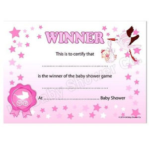 Baby Shower Games Prize – Winners Certificate (Pink) Party Girl, 10  Guests,Stars 5060462100309   Ebay with Best Baby Shower Winner Certificates